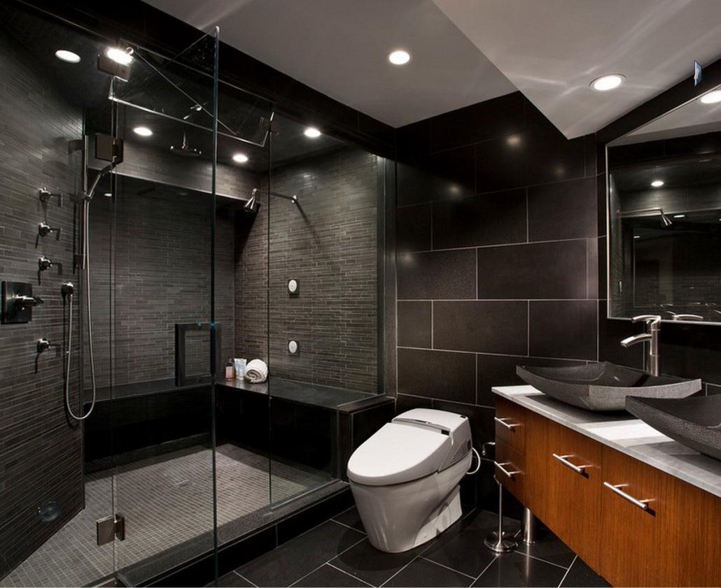 Черный дизайн ванной
